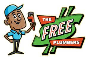 The Free Plumbers logo - cartoon man in blue uniform holding wrench