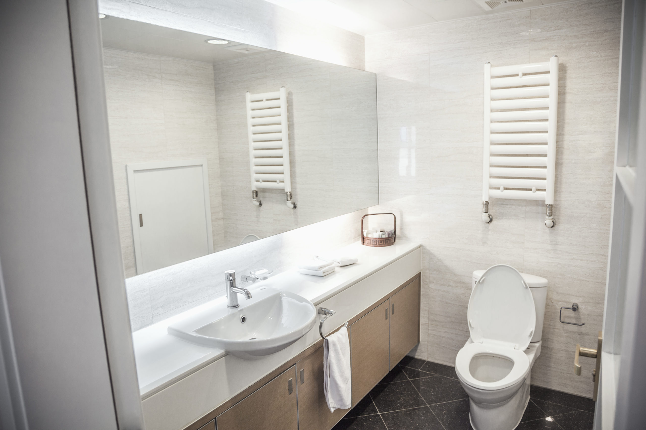 Modern, clean, bathroom with toilet and sink.